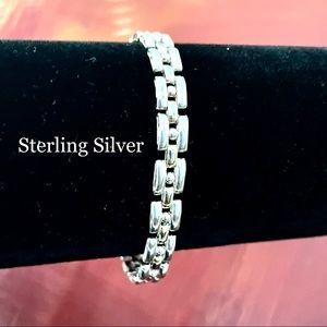 STERLING SILVER PANTHER LINK LINE DOT BRACELET 925